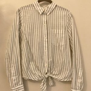 Madewell Striped Tie Front Blouse